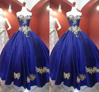 2021 New Gold Floal Applique Prom Formal Dresses Princess A-line Royal Blue Satin Strapless Evening Gowns Elegant Vestidos De Quinceanera