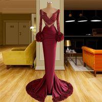 2022 Burgundy Mermaid Evening Dress V Newk Lace Long Sleeve Ruffles Prom Gowns Hollow Out Sexy Vestido De Novia
