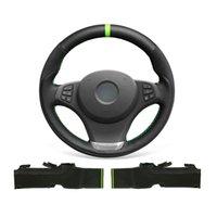 DIY مخصص ناعم دائم أسود الجلد المدبوغ جلد طبيعي غطاء عجلة القيادة لسيارات BMW X3 E83 2007-2010 / x5 E53 2000-2006