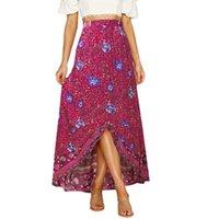 Gonne Stampa floreale Chiffon Gonna estiva da donna 2021 Abbigliamento Bohemian Beach Long Red Ruffle Ruffle Lace-up Wrap Maxi H4