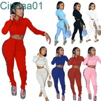 Women Tracksuits Designer Two Piece Set Sexy Hollow Out Hoodies Bandage Jacket Contrast Splicing Strap Coat Sweatpants Outfits S-XXL