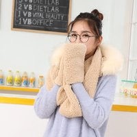 Hats, Scarves & Gloves Sets Cute Plush Hooded Scarf Hat Pocket 3 In 1 Warm For Women Winter Outdoor J55