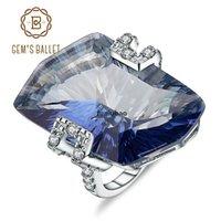 Ballet JH GEM 21.20ct Natura Iolite bleu Mystic Quartz Gemstone Cocktail Anneaux de cocktail 925 Sterling Silver Bijoux fins pour femmes CJ191205