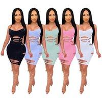 Bayan Mini Elbise Artı Boyutu Giyim Yaz Katı Renk Sling Yanmış Şerit Elbise Seksi Gece Kulübü Etek