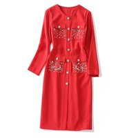 European and American women's wear new autumn 2022 Long-sleeved round collar Fashion diamond button embroidered sequins dress