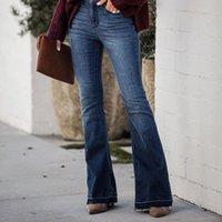 Женская широкая нога джинсы вспыхнула для женщин Винтаж джинсовые дамы мода повседневные карманные брюки широкие ноги брюки одежды