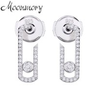 Moonmory Real 925 Sterling Silver Pure Love Pearl Vintage Earrings Crystal Zircon(Stone Can Not Moved )Jewelry Pave Earring 210619