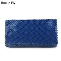 Bolsos de moda para mujer y bolsos Royal Azul Púrpura Aluminio Partido Embrague Bolsos Damas Casual Chicas Día Embragues Retro
