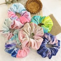 6pcs 100% coton cravate colorant velours filles hippie faite à la main snunchies de cheveux arc-en-ciel bandes élastiques pontail tites