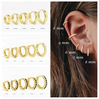 Hoop & Huggie ROMAD Tiny Round Circle Earrings Ear Bone Nose Ring 925 Sterling Silver For Women Aretes Hoops Jewelry