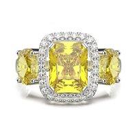 Shipei new square zircon women's imitation yellow diamond ring luxury