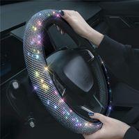 Bling Chrinsones Hearing Cover с кристаллическим бриллиантом сверкающий автомобиль дышащий противоскользящий руль защитника для женщин леди 38см