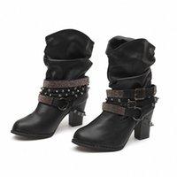 Monerffi Femmes Bottes Printemps Automne High Heels Chaussures Pour Female Rivet Boucle Daily Chaussures Dames Bottes courtes Cuir Mode P1DZ #