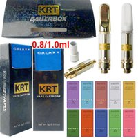 10 Strains KRT Wax Atomizers Vape Cartridges With Black Packaging Box 0.8ml 1.0ml Ceramic Carts White Round Mouthpiece 510 Thread Thick Oil Cartridge E Cigarettes
