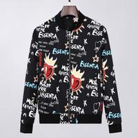 Modejacke Windjacke Langarm Mens Jacken Hoodie Kleidung Reißverschluss mit Tierbrief Muster Plus Größe Kleidung M-XXXL