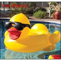 Pool flutua jangada 82.6 * 70.8 * 43.3inch natação pato amarelo flutua jangada engrossar gigante pvc pato piscina flutua t qylnjz bdénet