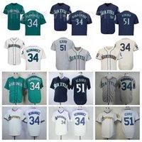 남자 빈티지 야구 34 Felix Hernandez Jersey 1984 1995 레트로 51 Suzuki Ichiro FlexBase 멋진 기본 녹색 흰색 회색 베이지 블루 탑 품질