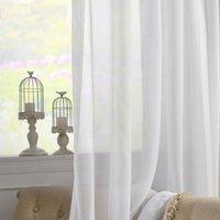 Cortinas cortinas zisiz modernas blancas cortinas de tul para la decoración de la sala de estar Solid Sheer Voile Cocina Tratamientos de la ventana