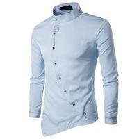 Men's Casual Shirts Laamei 2021 Slim Fit Fashion Male Shirt Long Sleeve Mens Clothes Oblique Button Dress Mandarin Collar Men Tuxedo