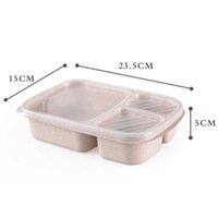Packaging dinner service Wheat Straw Lunch Box Microwave Bento Boxs Dinner Service Quality Health Natural Student Portable Food Storage W20F