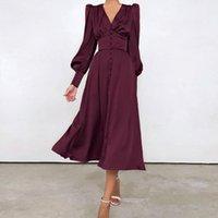 Kadın Uzun Elbise Parti Fener Kollu A-Line Yüksek Bel Ince Zarif Giyim Yılı Top Akşam Saten Balo