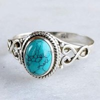 Natural Stone Band Blue Turquoises Finger Rings Vintage Antique Fashion Jewelry For Women