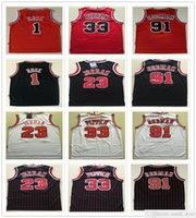 Сшитые сетки Vintage Derrick 1 Rose Dennis 91 Родман Скотти 33 Pippen Трикотажные изделия Красный Белый Черный 23 Майкел Майкос Баскетбол