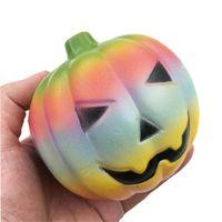 Детские Хэллоуин подарки Дары Скопить Ручная сжимание игрушка 10 см Hallowmas Squishy Rainbow тыква медленные растущие отскок игрушки руки сжатые безделушки