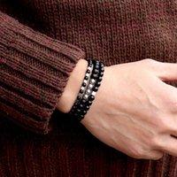 Lien, chaîne 2021 mode 3pcs / set Bracelet Hématite Naturel Hématite Matte Perles Brazlet pour Hombre HiPhop Rock Charm Accessoires