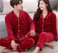 Long Sleeve Pajamas Sets Males Fashion Loose Underwear Mens Womens Plus Size Sleepwears Suits Couple Designer Lapel Neck Button