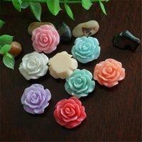 Yeni 30 adet 2 Renkler Reçine Gül Çiçek Flatback Aplikler DIY Telefon / Craft Scrapbooking DIY Aksesuarları Için Bezemeler