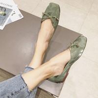봄 2020 새로운 패션 헝겊 사각형 머리 바지 얕은 입 편안한 평평한 바닥 부드러운 하단 여자 신발 갈색 신발 공식적인 sh x4me #