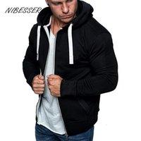 Мужские толстовки толстовки Nibesser 2021 молния капюшон мужская мода толстовка сплошной цвет капюшон комфортно