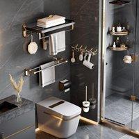 Bath Accessory Set Gold Bathroom Shelf Hook Toilet Paper Holder Brush Towel Space Aluminum Hardware Accessories