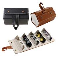 Malas de jóias, sacos 5 slots dobrável PU couro óculos de sol óculos de viagem organizador de viagem caso múltiplo pendurado titular de óculos