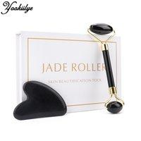 Jade Roller Face Lift Guasha Masaż Zestaw Obsidian Masaż twarzy w kształcie serca Kamień Roller Anti Wrinkle Beauty Pielęgnacja skóry C022801 C31