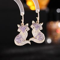 Fox Dangle Earrings Women Party Personality Jewelry High Quality Colorful Zircon Crystal Animal Drop Earring Accessories