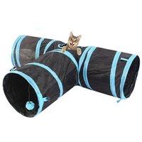 Туннель для кота для крытых кошек, трубных игрушек для кошек 3 пути складной, котенок туннель скучающий кошка домашние игрушки PEEK дырки игрушка мяч кошка, щенок, котенок, котенок, кролик