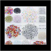 Acrylique, Plastique, Lucite Bijoux Drop Drop Drop 2021! 500 pcs 7mm Acrylique mixte Lettre d'alphabet Coin ronde Perles d'entretoise lâche plate 15- Style