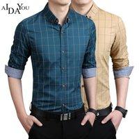 Мужские повседневные рубашки A Adaysou рубашка мужской плед без карманных мужчин Одежда с длинным рукавом Умный социальный плюс размер M-5XL OUC3366