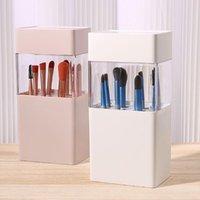 Storage Boxes & Bins Plastic Multifunctional White pink Lipstick Container Make Up Brush Box Makeup Organizer Cosmetic Holder