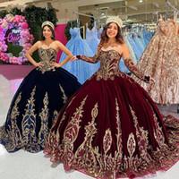 Burgund 2021 Samt Quinceanera Kleider Brautkleider Schatz Langarm Gold Spitze Sweet 16 Kleid Vestidos de XV Años Anos