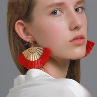S2526 Bohemia Fashion Jewelry Fan Tassels Dangle Stud Earrings Vintage Geomtric Earrings