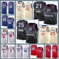 필라델피아76er.Jersey Joel 21 Embiid 2021 Ben 25 Simmons Allen 3 Iverson Jersey 42 Horford Julius 6 Arving Basketball 20/21