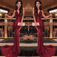 Party Dresses 2021 Burgundy V Neck Sequin Mermaid Prom Split High Slits Vestidos De Fiesta Sweep Train Formal Long Evening Dress