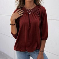 Women's T-Shirt Women Autumn And Winter Solid Color Fashion Round Neck Casual Loose Three-Quarter Sleeve Top For 2021