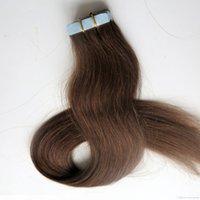 Top Qualité 50g 20pcs Tape dans les extensions de cheveux Colle Skin Therbe Brésilien Cheveux humains indiens 18 20 22 24 pouces # 4 Brun foncé