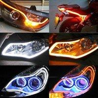 Interioorexternal Lights 60см Световой трубки набор автомобиля DRL Светодиодная полоса Мягкая направляющая белый + желтый высокое качество