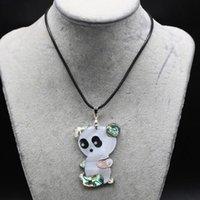 Collane del pendente Collana naturale del guscio di panda naturale della collana della corda di cuoio animale sveglio dei gioielli fai da te Charms per le donne regalo degli uomini