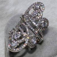Victoria Wieck Luxury Wide Jewelry 925 Sterling Silver White Topaz Simulated Diamond Gemstones CZ Flower Wedding Women Band Giift Size 5-11
